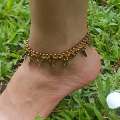 Brass Beads Anklet with Brass Coins in Gold