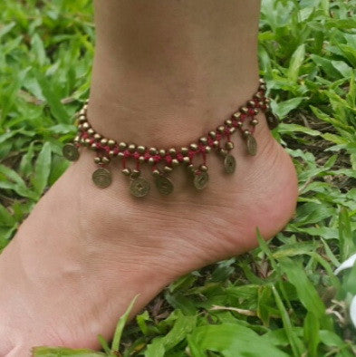 Brass Beads Anklet with Brass Coins in Red