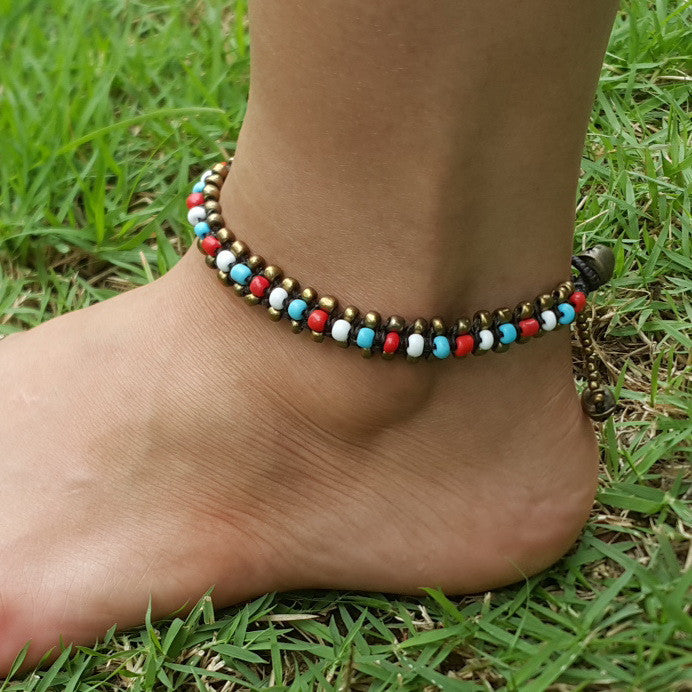 Triple Brass Beads Anklet with Multi Color Beads