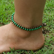 Triple Brass Beads Anklet with Green Beads