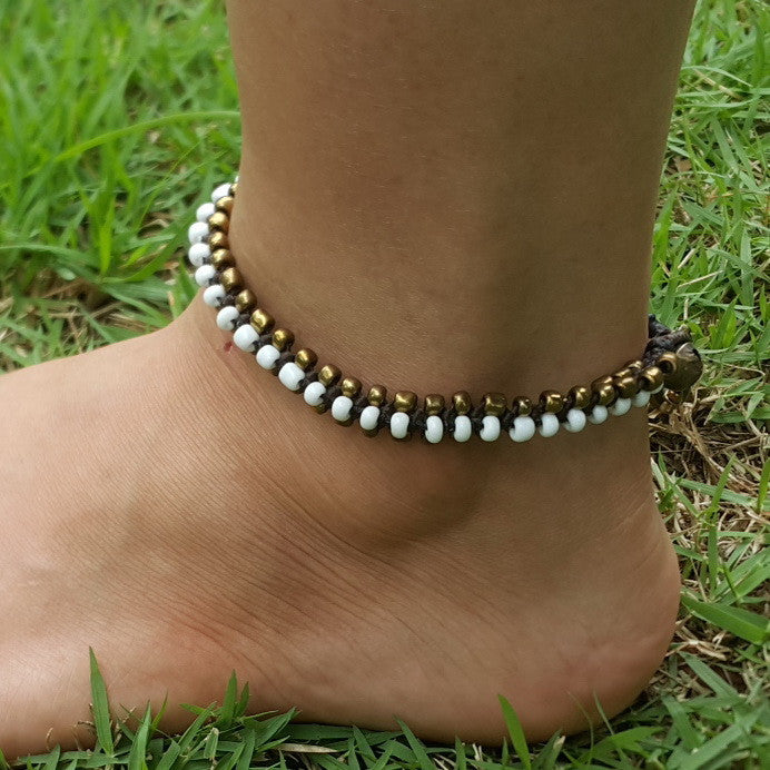 Triple Brass Beads Anklet with White Beads