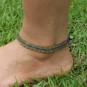 Brass Coin Waxed String Anklet in Blue
