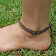 Brass Coin Waxed String Anklet in Purple