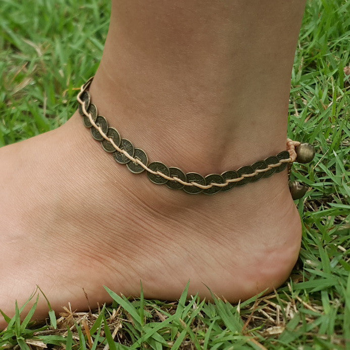 Brass Coin Waxed String Anklet in Beige