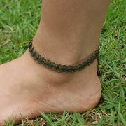 Brass Coin Waxed String Anklet in Black