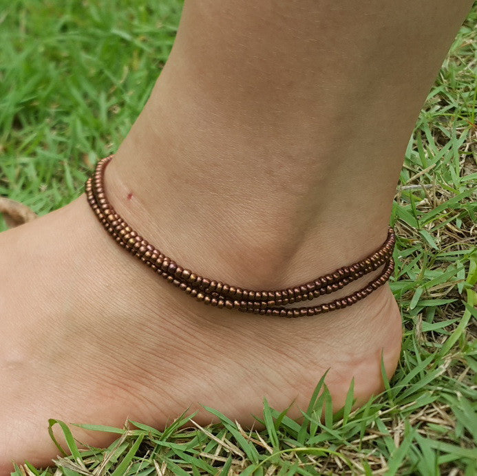 Tripple Strand Metallic Beads Anklet in Copper
