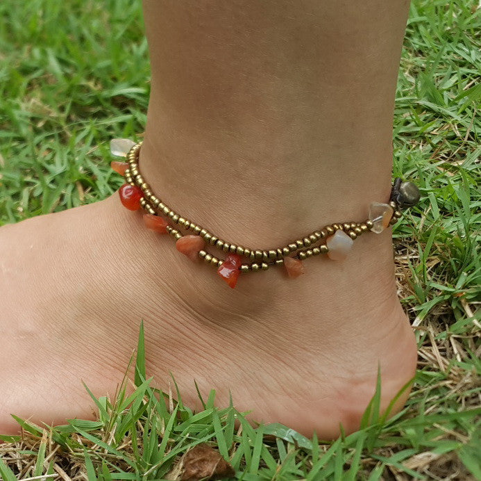 Brass Beads Anklet with Carnelian