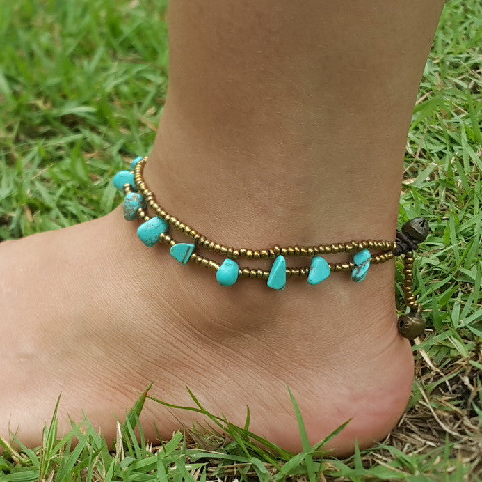 Brass Beads Anklet with Turquoise