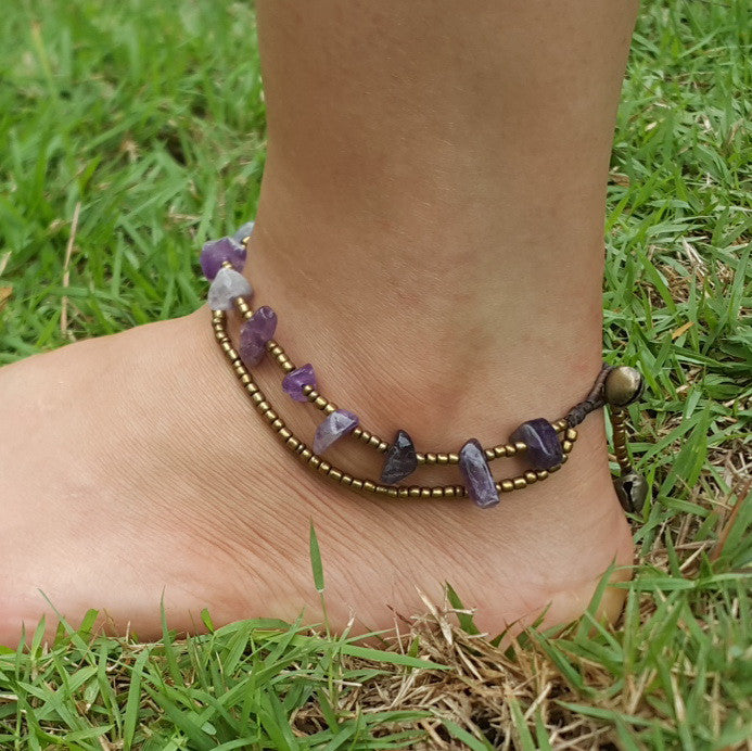 Brass Beads Anklet with Amethyst