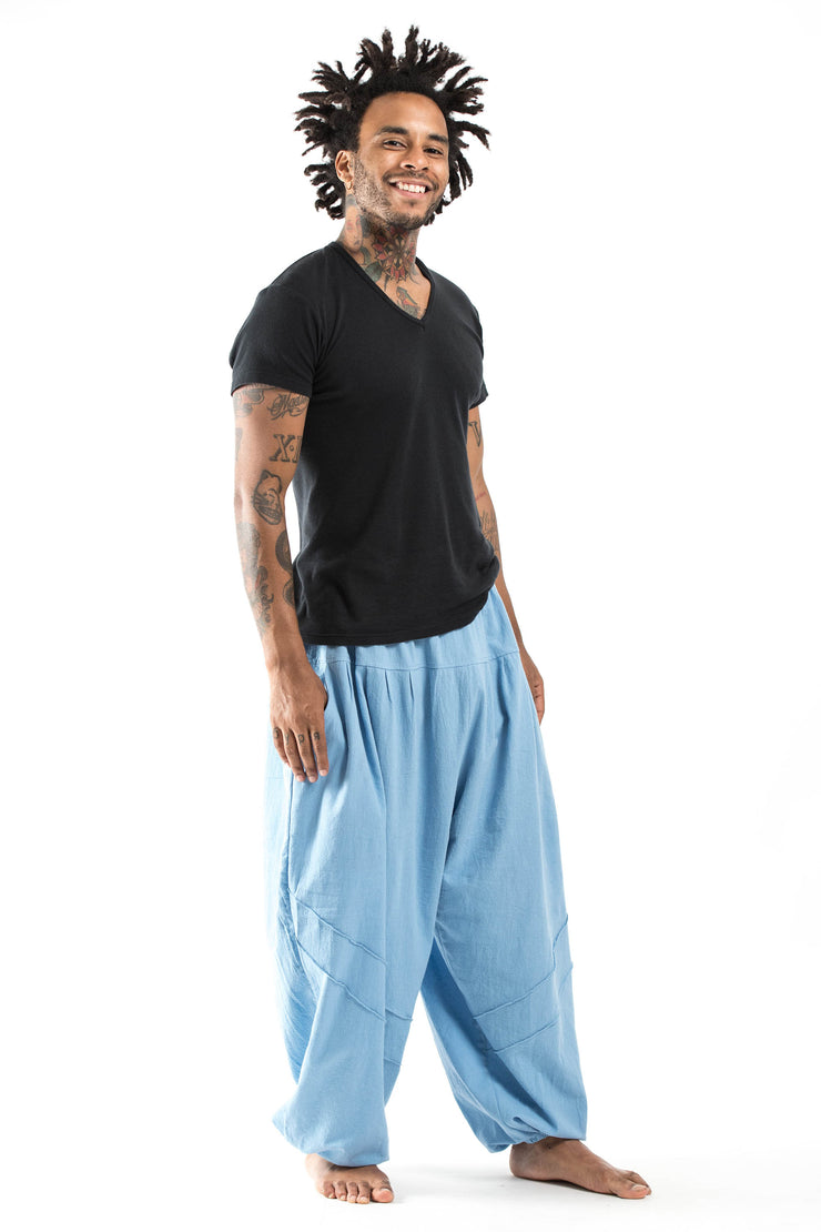Unisex Genie Cotton Harem Pants in Light Blue