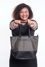 Upcycled Tote Bag Rubber Canvas Olive
