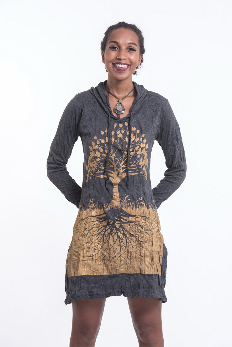 Womens Tree of Life Hoodie Dress in Gold on Black