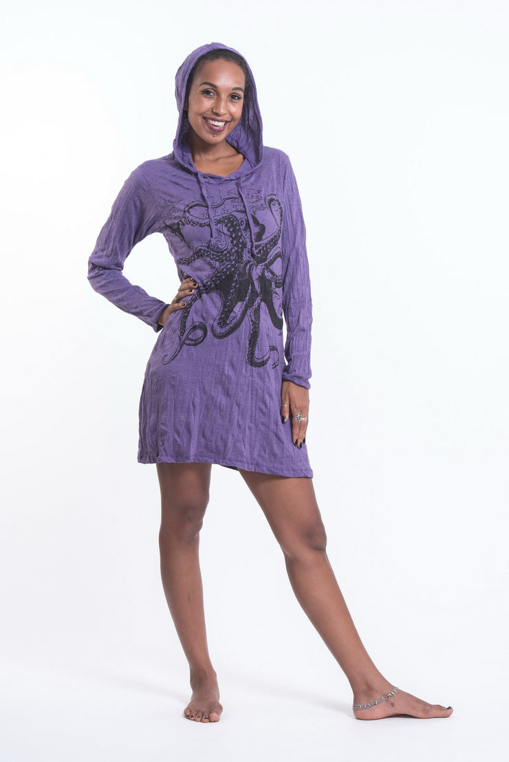 Womens Octopus Hoodie Dress in Purple