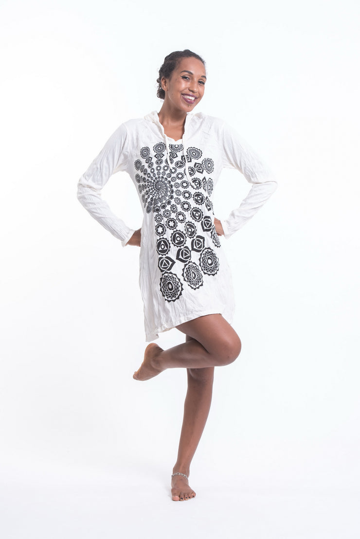Womens Chakra Fractal Hoodie Dress in White