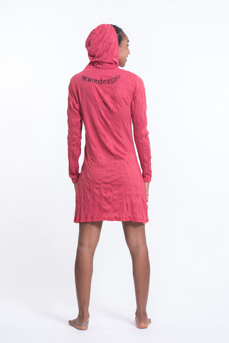 Womens Durga Hoodie Dress in Red