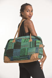 Hmong Hill Tribe Patchwork Travel Bag in Green