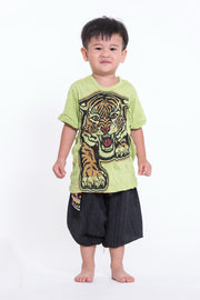 Kids Baby Tiger T-Shirt in Lime