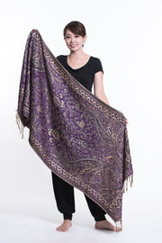Nepal Traditional Paisley Pashmina Shawl Scarf in Purple