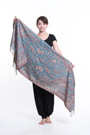 Nepal Traditional Paisley Pashmina Shawl Scarf in Blue