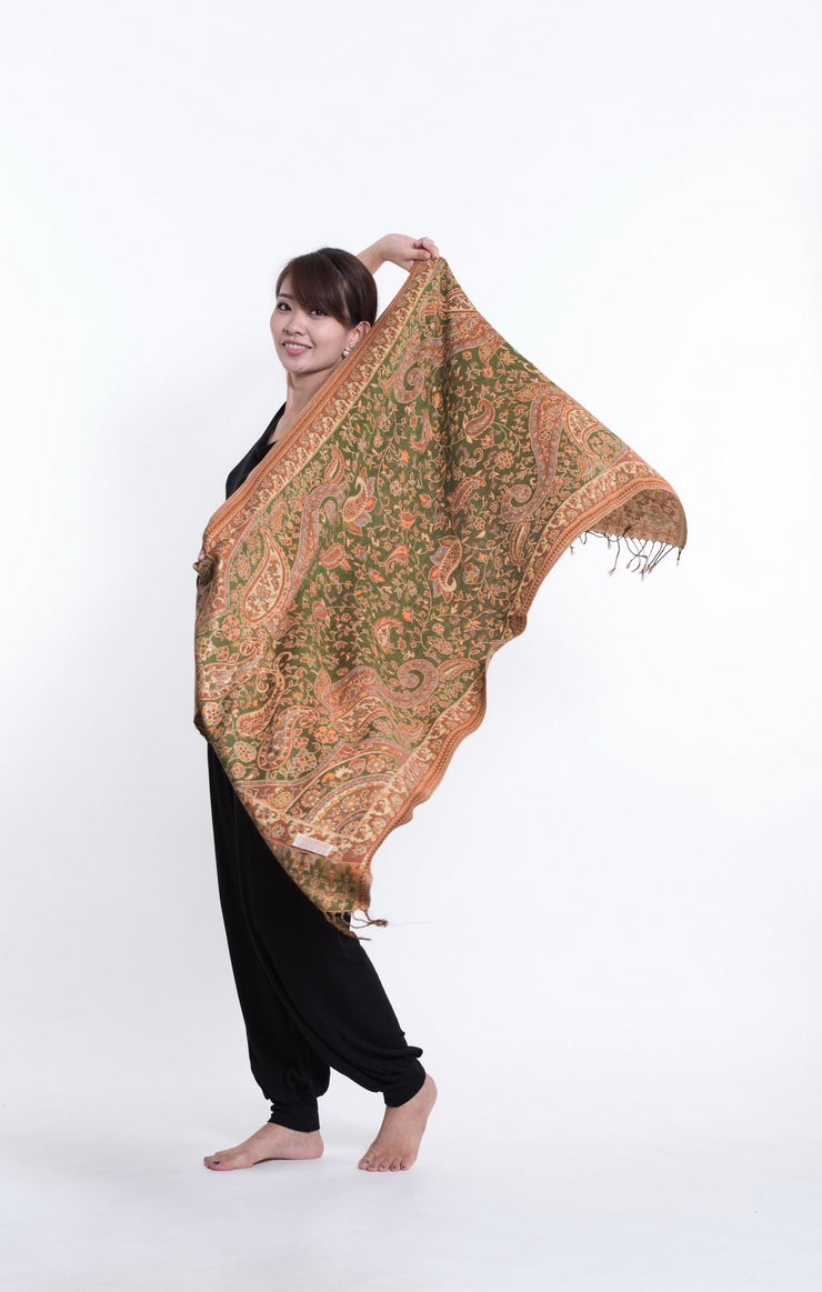 Nepal Traditional Paisley Pashmina Shawl Scarf in Green