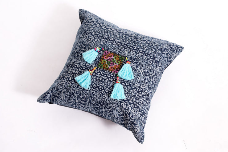 Hmong Indigo Batik Cotton Pillowcase with Light Blue Tassels