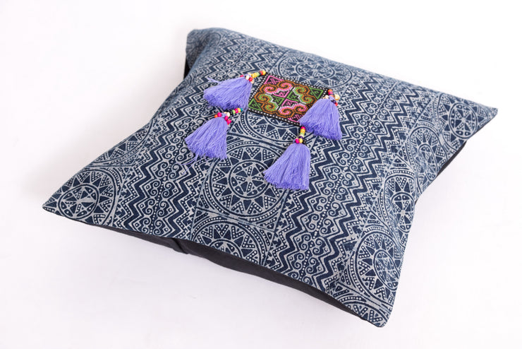 Hmong Indigo Batik Cotton Pillowcase with Violet Tassels