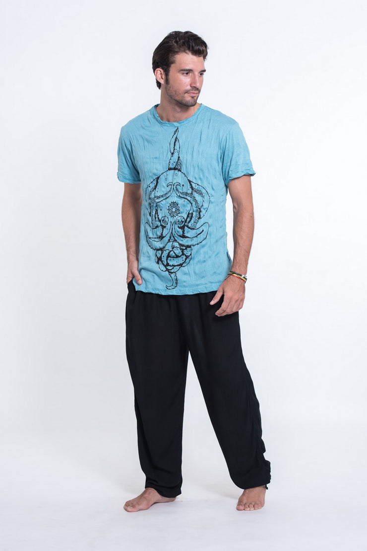 Mens Octopus Mandala T-Shirt in Turquoise