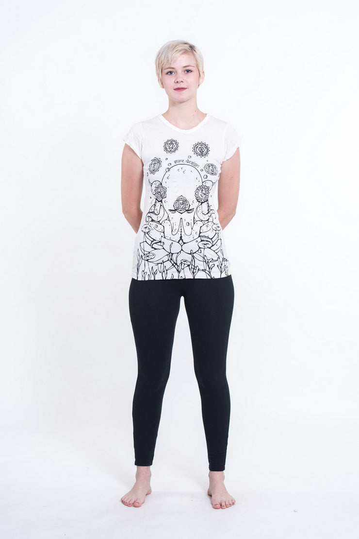Womens Octopus Chakras T-Shirt in White