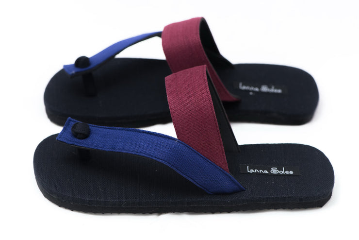 Blue and Red Thai Cotton Sandals
