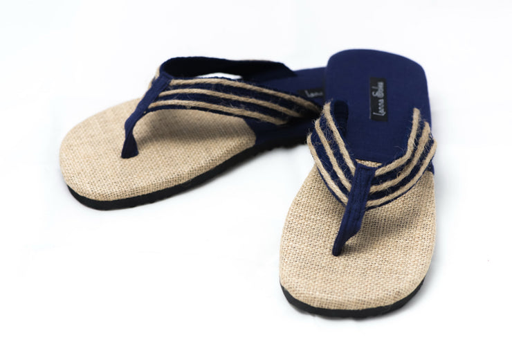 Blue and Natural Jute Sandals