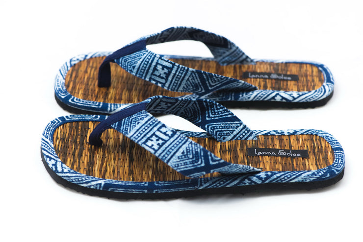 Hmong Print and Natural Reed Sandals