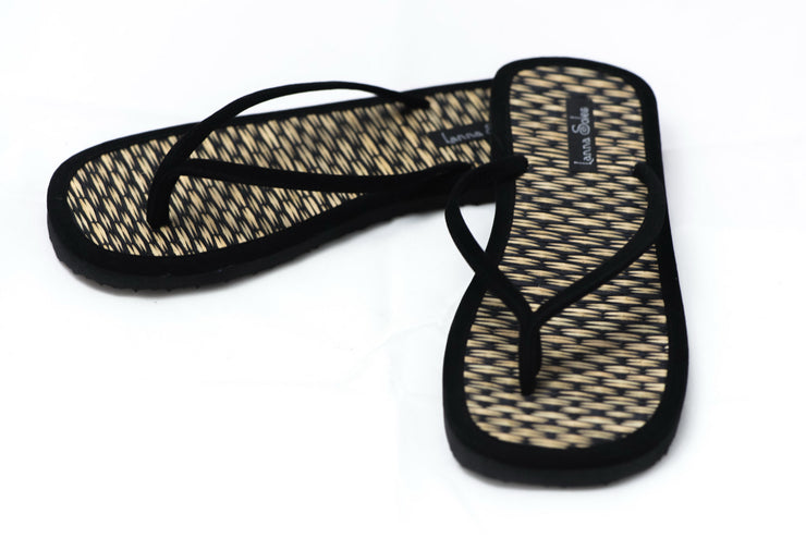 Black Velvet Natural Reed Sandals
