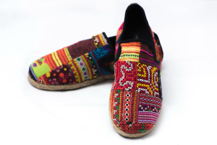 Hmong Patchwork Embroidered Slip On Shoes