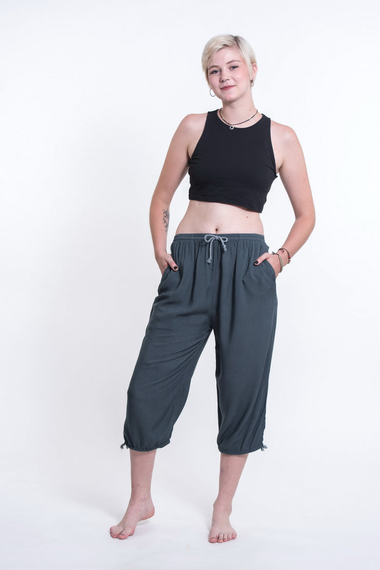 Womens Solid Color Drawstring Cropped Pants in Dark Teal