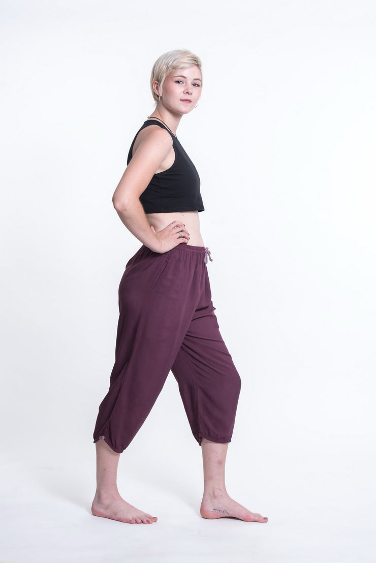 Womens Solid Color Drawstring Cropped Pants in Dark Purple