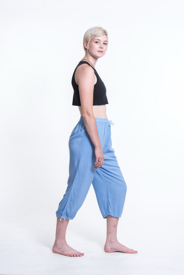 Womens Solid Color Drawstring Cropped Pants in Blue