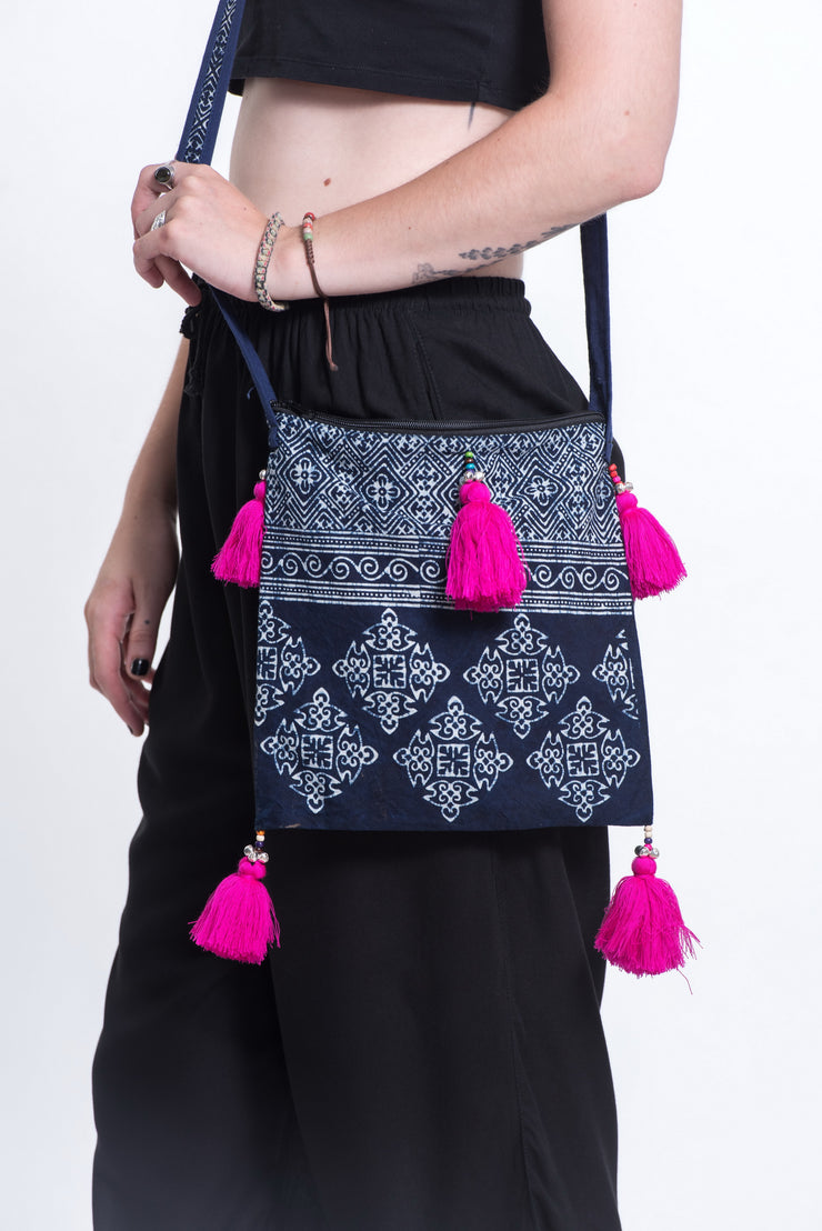 Hmong Indigo Batik Crossbody Sling Bag with Pink Tassels