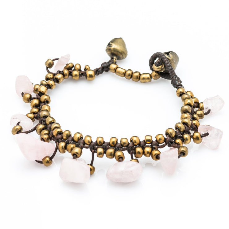 Brass Beads Bracelet with Rose Quartz Stones