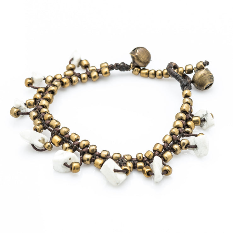 Brass Beads Bracelet with Howlite Stones