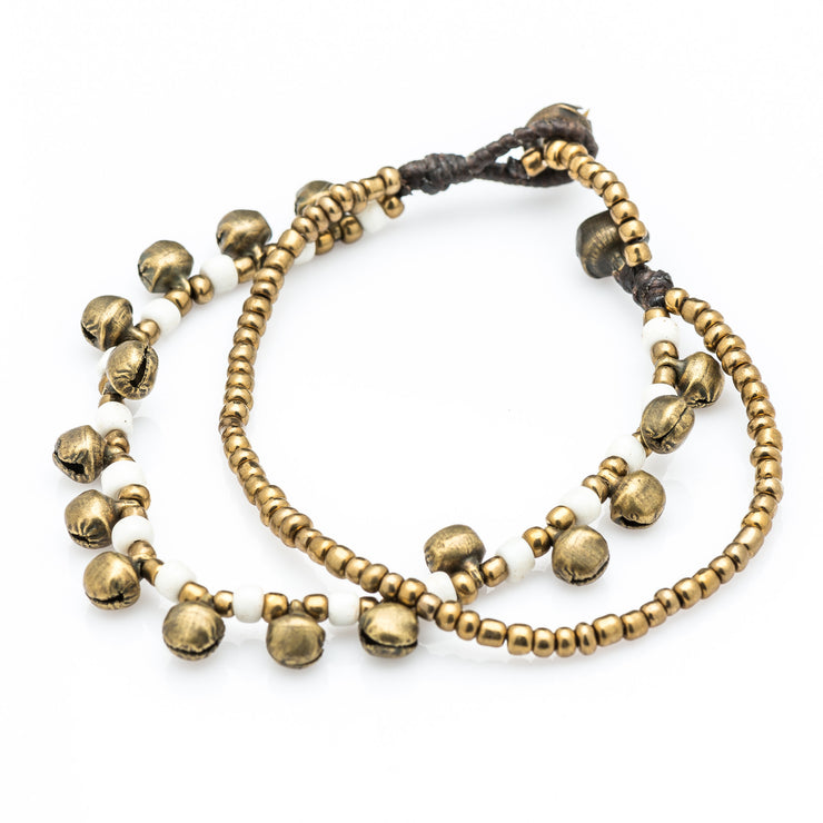 Brass Beads Bracelet with Brass Bells in White
