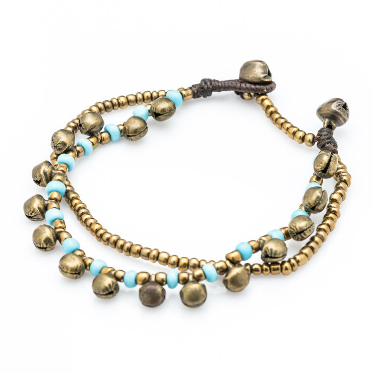 Brass Beads Bracelet with Brass Bells in Blue