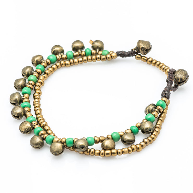 Brass Beads Bracelet with Brass Bells in Green