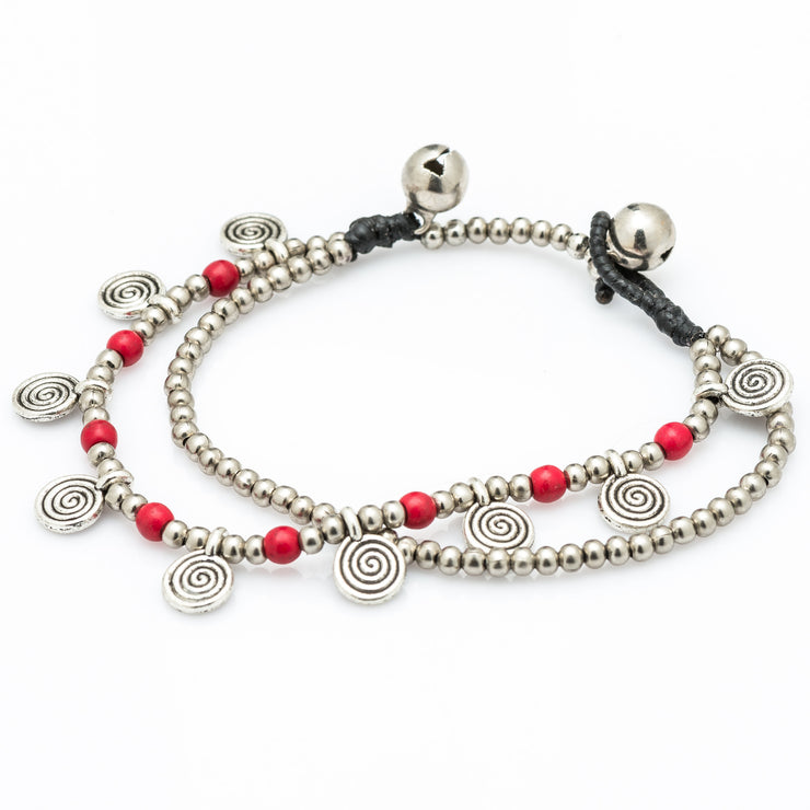 Silver Beads Bracelet with Spiral Charms in Red
