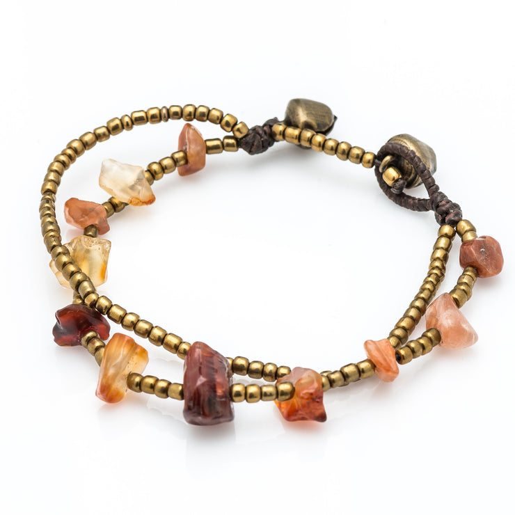 Brass Beads Bracelet with Carnelian Stones