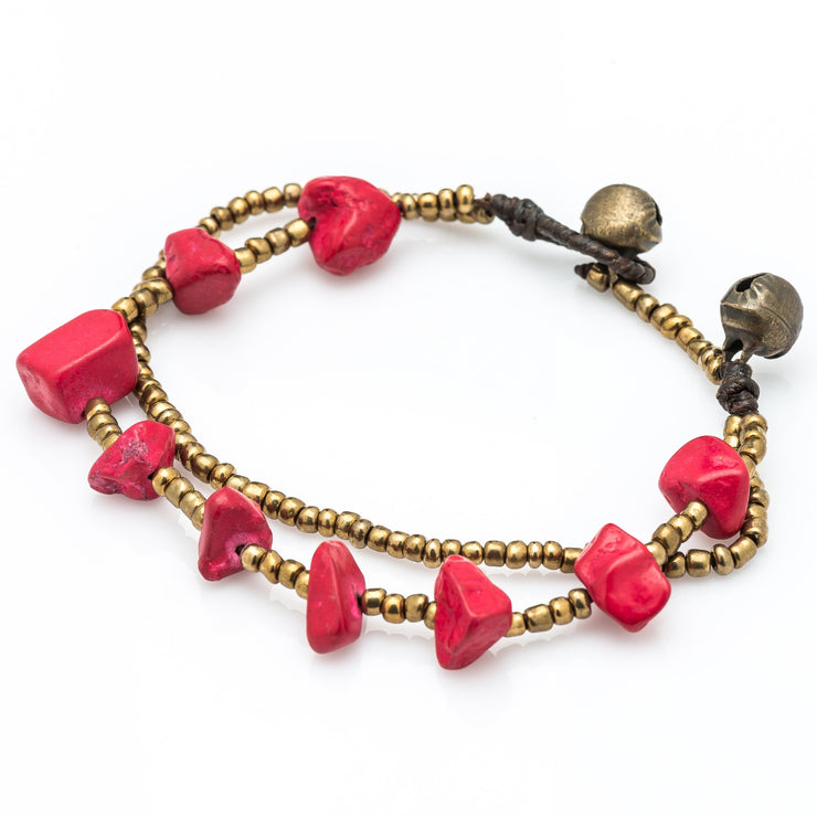 Brass Beads Bracelet with Coral Stones
