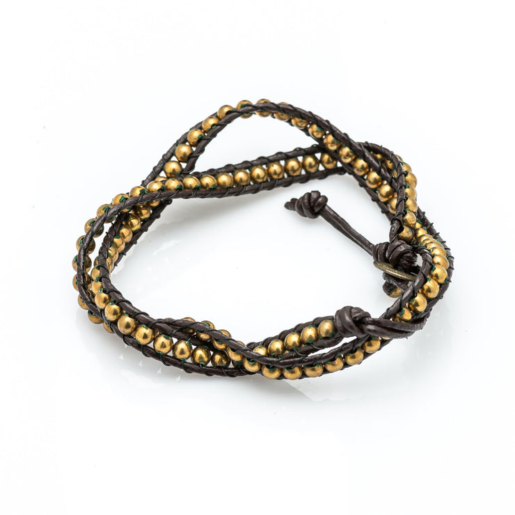 Leather Wrap Bracelet with Gold Beads