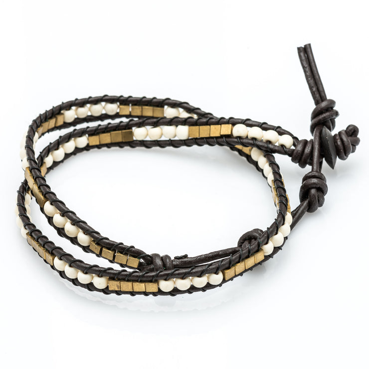 Leather Wrap Bracelet with White Beads