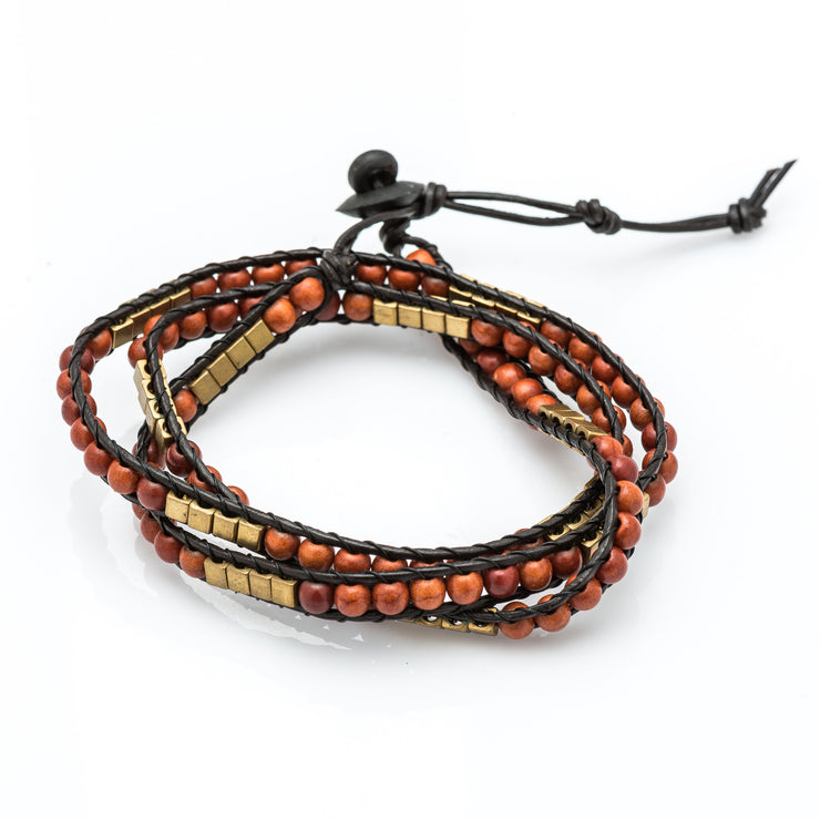 Leather Wrap Bracelet with Wooden and Gold Beads