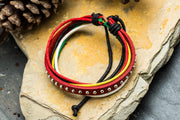 Multi Strand Leather Bracelet in Red