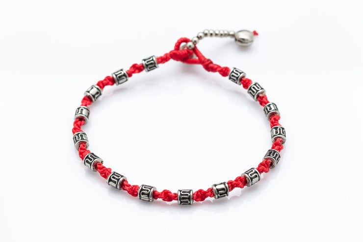 Silver Tube Braided Waxed String Anklet in Red